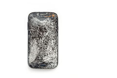Top view broken of smart phone isolated on white. Background stock photography