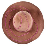 Top view of brown broad-brim felt hat Stock Images