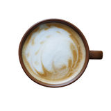 Top view of brown coffee cup with milk foam isolated on white ba Stock Photos