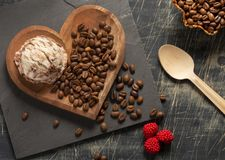 Top view brown ice cream and coffee beans on old rustic vintage. Coffea. Coffee ice cream ball - Roasted coffee beans. Coffea stock photography