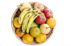 Top view of bucket of fresh organic fruits Royalty Free Stock Images