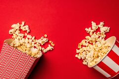 Top view of buckets with delicious popcorn