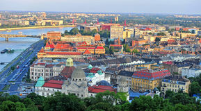 Top view of Budapest city on sunset. Hungary Royalty Free Stock Photos