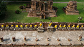 Top view of Buddha statue at Old Temple Wat Yai Chai Mongkhon of Stock Images