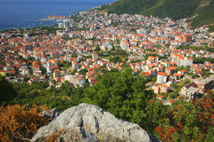 Top view Budva Montenegro. Beautiful view of the city of Budva, Montenegro. Top view of the ancient city, the mountains, the Adriatic Sea. The line of the Royalty Free Stock Image