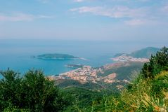 Top view on Budva Riviera from mountains. Top view from mountains on Budva Riviera and Adriatic sea, Montenegro Royalty Free Stock Photo