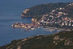 Top view of Budva town Stock Image