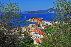 Top view of Budvanska riviera and St. Stefan island Stock Photo