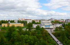 Top view of building of concert hall Vitebsk, Belarus. VITEBSK, BELARUS - MAY 21, 2017: Top view of concert hall `Vitebsk` and park of culture and recreation stock image