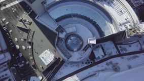 Top view of the building with dome roof. Framing in the dome structure ceiling.  stock footage