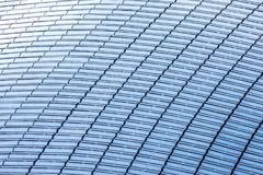 Top view of a building roof fully covered with solar panels.  Royalty Free Stock Photography
