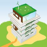 Top view of a building. Top view of a Green Residential building. Vector illustration Royalty Free Illustration