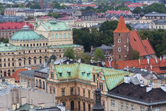 Top view of buildings in the Old centre of Krakow Stock Images