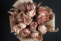 Top view of a bunch of dry flowers Stock Photo
