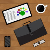 Top view of business activity vector Royalty Free Stock Image