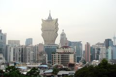 Macao is a city of gorgeous casinos. Landscapes of Asian Las Vegas. stock photo