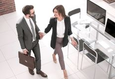 Top view.business couple standing near the desktop. Photo with copy space stock photography