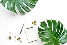 Top view of business desk table with monstera leaves and mock up accessories. On white background.flat lay design.copy space stock photography