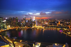 Top view of the business district Marina Bay in Singapore at night. Stock Photo