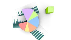 Top view business financial pie and bars, graph grows, income figures chart stock illustration