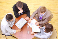 Top view of business people. Sitting in the meeting Royalty Free Stock Photos