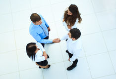 Top view of business people shaking hands Royalty Free Stock Photography