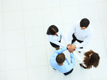 Top view of business people with their hands Royalty Free Stock Image