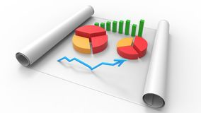 Top view of business report, on paper. 3D Render. Top view of business report, on paper Royalty Free Stock Photos
