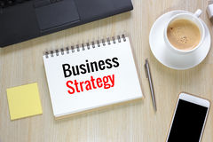 Top view of Business Strategy on office desk  with computer, sma Stock Photography
