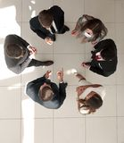 Top view. the business team is brainstorming Royalty Free Stock Photo