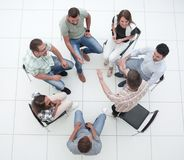 Top view.business team discussing interesting ideas. The concept of teamwork royalty free stock image