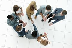 Top view.business team and handshake of business partners Stock Photos