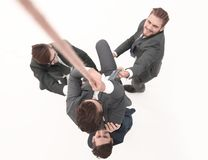 Top view .business team helps the boss to climb up. Photo with copy space royalty free stock image