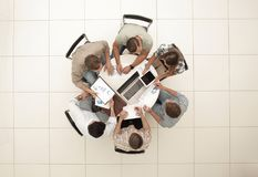 Top view.the business team holds a round table stock images