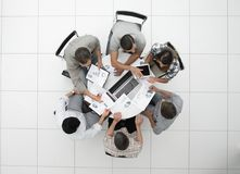 Top view.the business team holds a round table. Photo with copy space Stock Photo