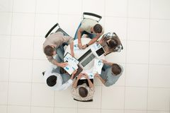 Top view.the business team holds a round table. Photo with copy space Royalty Free Stock Photo