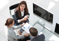 Top view.business team at an informal meeting. Business planning stock photo