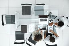Top view. business team making a financial report royalty free stock image