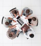 Top view.business team making a financial report. Photo with copy space stock images