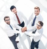 Top view. business team putting their hands together stock images