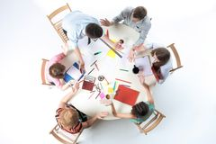 Top view of business team on workspace background Royalty Free Stock Images
