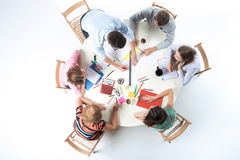 Top view of business team on workspace background Stock Photo
