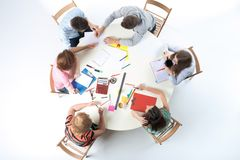 Top view of business team on workspace background Stock Images