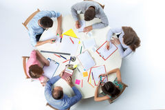 Top view of business team on workspace background Royalty Free Stock Photography
