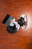 Top view of business women using laptop Stock Photo