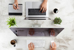 Top view business working desk Royalty Free Stock Photography