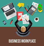 Top view business workplace in flat style. Top view business workplace, vector illustration. Overhead view of businessman working with financial documents at Stock Photo