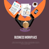 Top view business workplace in flat style. Top view business workplace, vector illustration. Overhead view of businessman working with financial documents at Stock Photos