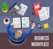 Top view business workplace in flat style. Top view business workplace, vector illustration. Overhead view of businesswoman working with financial documents at Stock Images