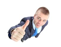 Top view of businessman giving OK Royalty Free Stock Photo